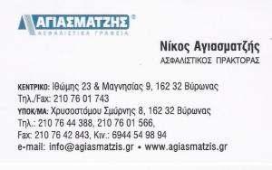 ΝΙΚΟΣ ΑΓΙΑΣΜΑΤΖΗΣ - ΑΣΦΑΛΕΙΕΣ ΒΥΡΩΝΑΣ