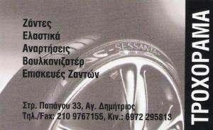ΤΡΟΧΟΡΑΜΑ - ΕΛΑΣΤΙΚΑ ΑΥΤΟΚΙΝΗΤΩΝ ΑΓΙΟΣ ΔΗΜΗΤΡΙΟΣ - ΖΑΝΤΕΣ ΑΥΤΟΚΙΝΗΤΩΝ ΑΓΙΟΣ ΔΗΜΗΤΡΙΟΣ -ΒΟΥΛΚΑΝΙΖΑΤΕΡ
